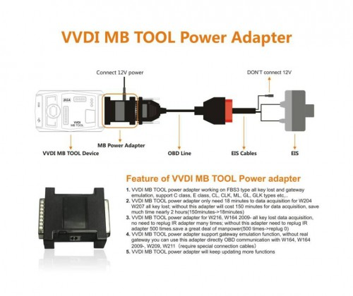 Original Xhorse VVDI MB BGA Tool Power Adapter work with W164 W204 W210 Data Acquisition (Support Ship From US/UK)