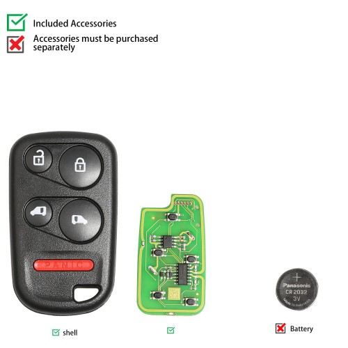 Xhorse Wire Univerasl Remote for Honda Type XKHO04EN Separate-4BTN-With Sliding Door BTN 5pcs/lot