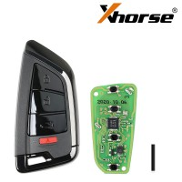 Xhorse XSKF21EN Smart Remote Key Memoeial Knife Style II 4 Buttons Shiny Black Color 5pcs/lot