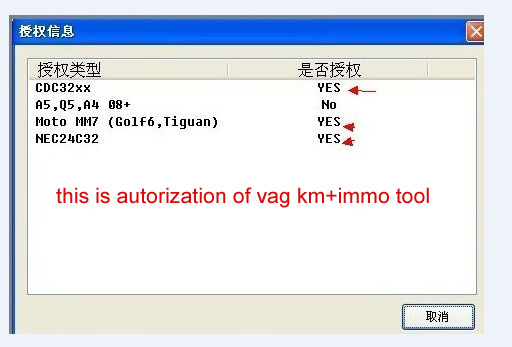 VAG KM IMMO TOOL authorization