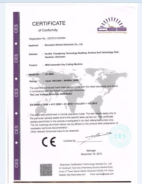 condor xc-mini ce certificate